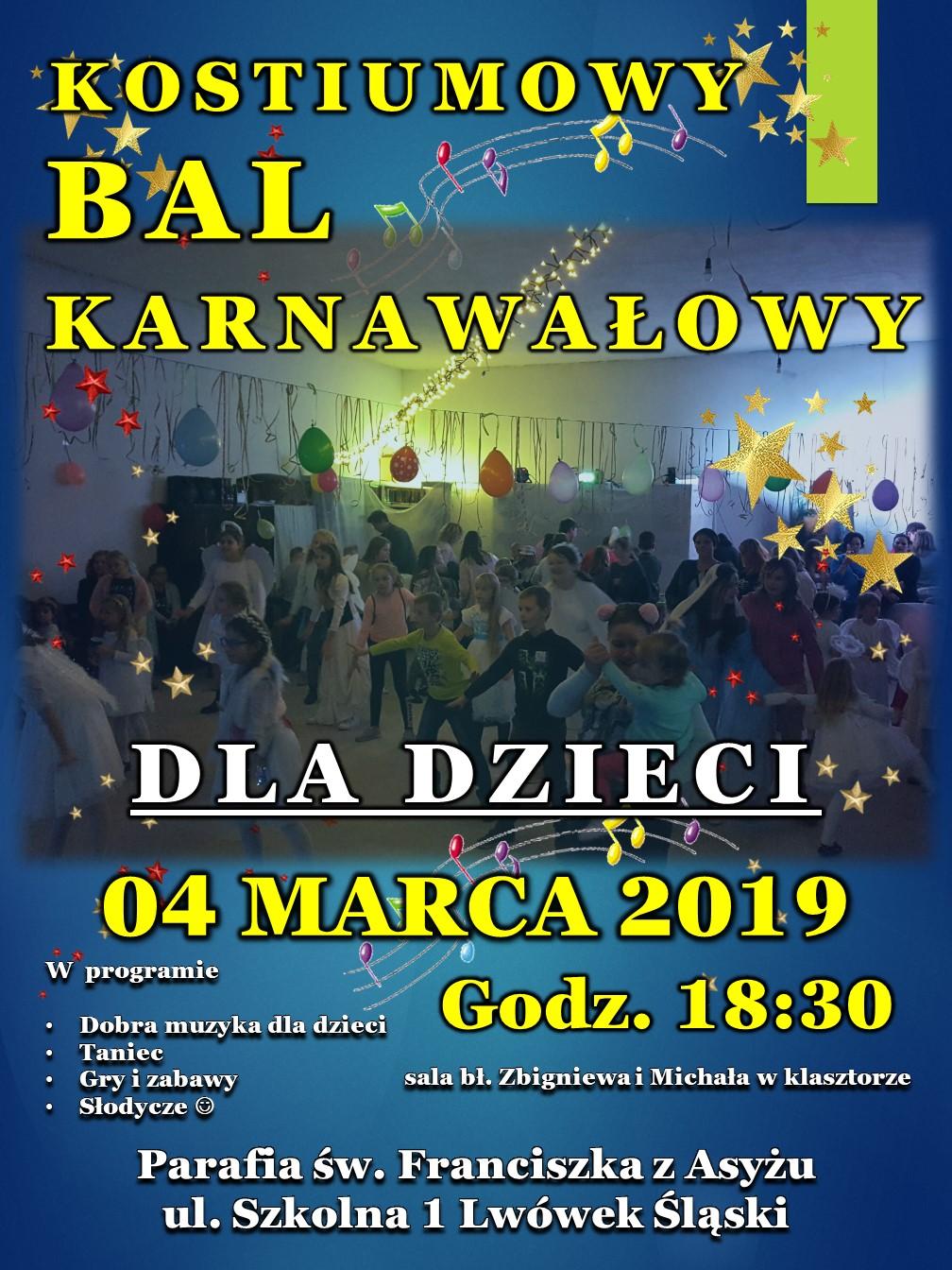 Zaproszenie Karnawałowy Bal Dla Dzieci Franciszkanie We Lwówku
